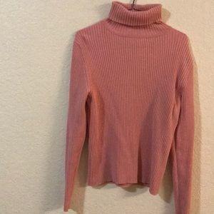 Gap Ribbed Pink Turtleneck Sweater Large